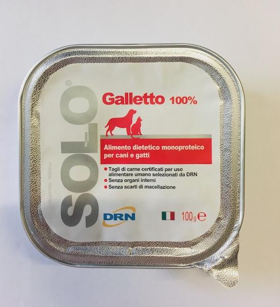 Alimento umido monoproteico  SOLO DRN 100% Galletto  Confezione da 100 gr