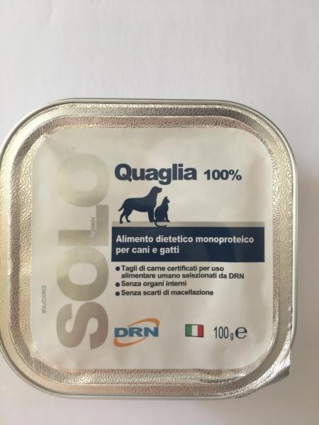 Alimento umido monoproteico  SOLO DRN 100% Quaglia  Confezione da 100 gr