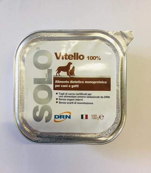 Alimento umido monoproteico  SOLO DRN 100% Vitello  Confezione da 100 gr