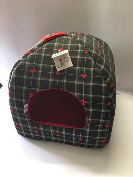 Bengy cuccia pagoda stampa scozzese grigio-e cagnolini rossi 40x30x38 cm Made in Italy