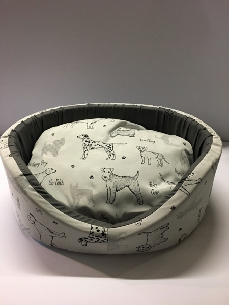 Cuccetta Sfoderabile mis 40 Stampa Happy dog 46x40x17 cm Made in Italy