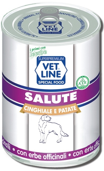 Mangime umido Salute cinghiale con patate 400 gr Vet Line