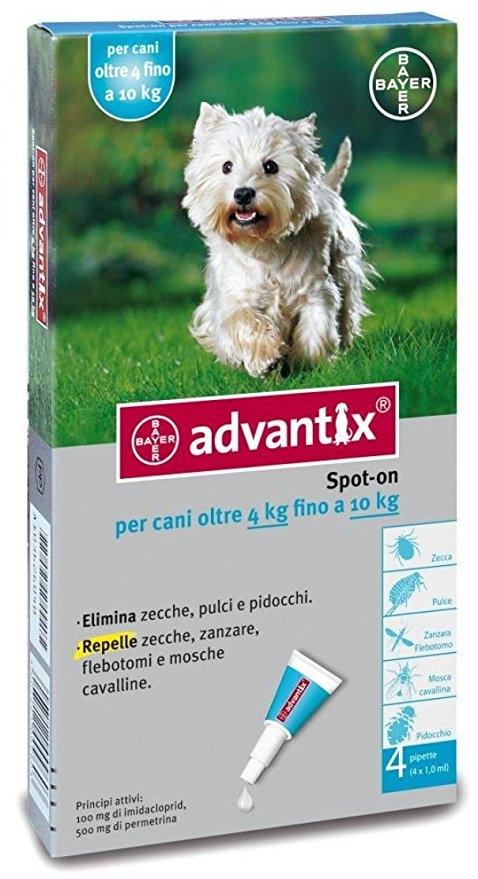 Nuovo Advantix per cani di peso tra 4 -10 kg 4 pipette
