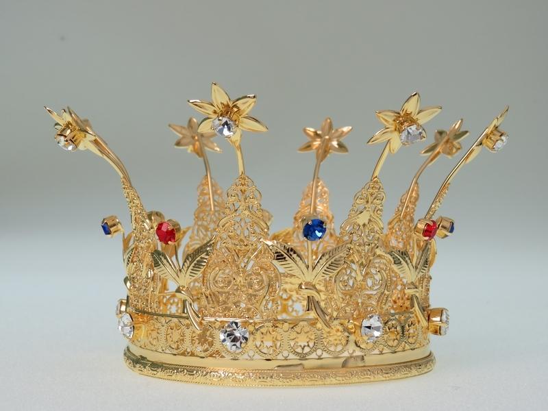 Corona Reale diam.15,  in ottone dorato 24k