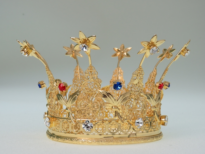 Corona Reale diam.8,  in ottone dorato 24k