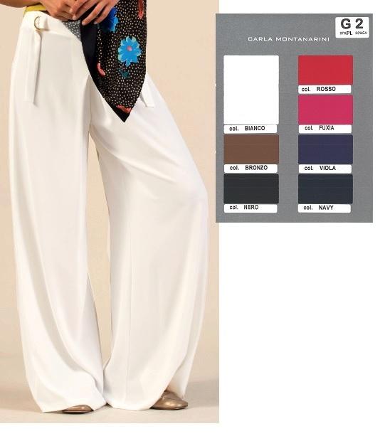 Pantalone con gamba larga con piega davanti centrale