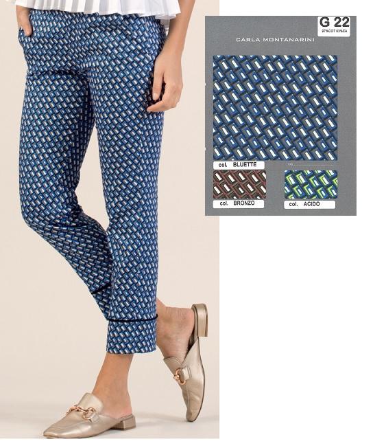 Pantalone fascetta con tasche e polso alto con profilo
