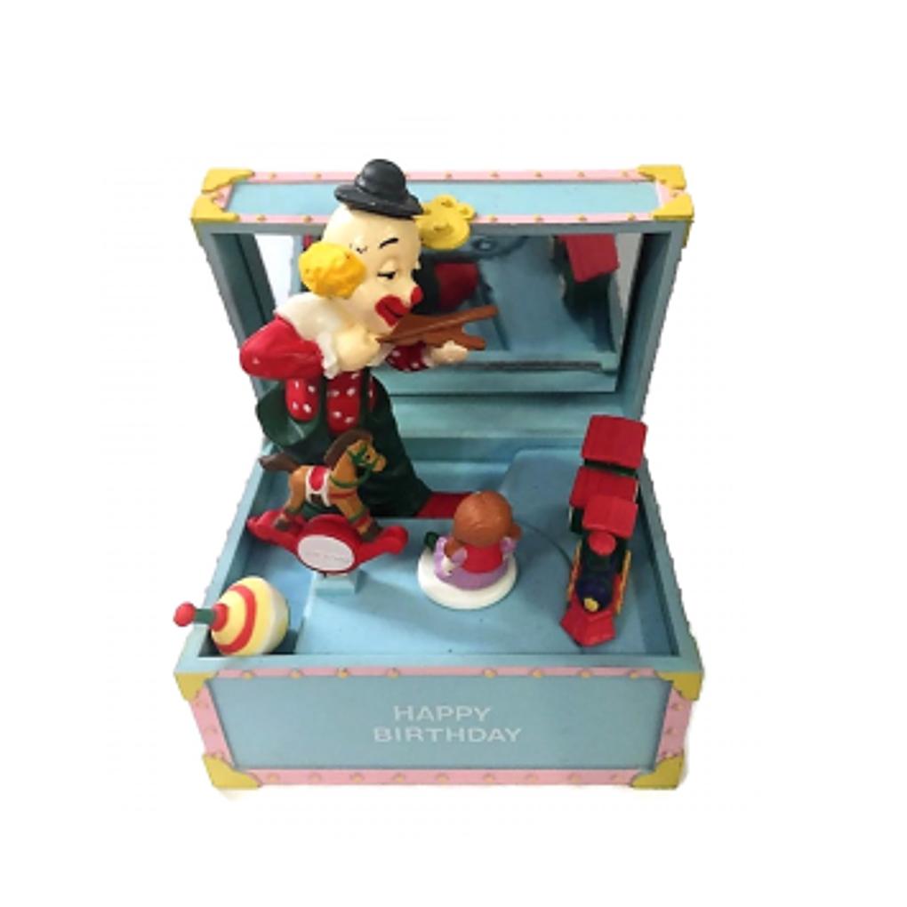 Carillon bauletto Happy Birthday con clown vintage
