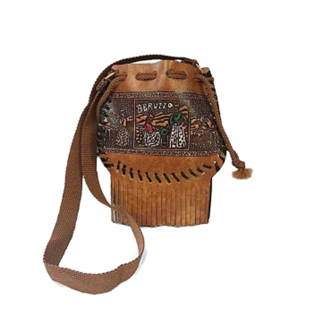 Vintage BORSETTA con frange collezione souvenir Abruzzo