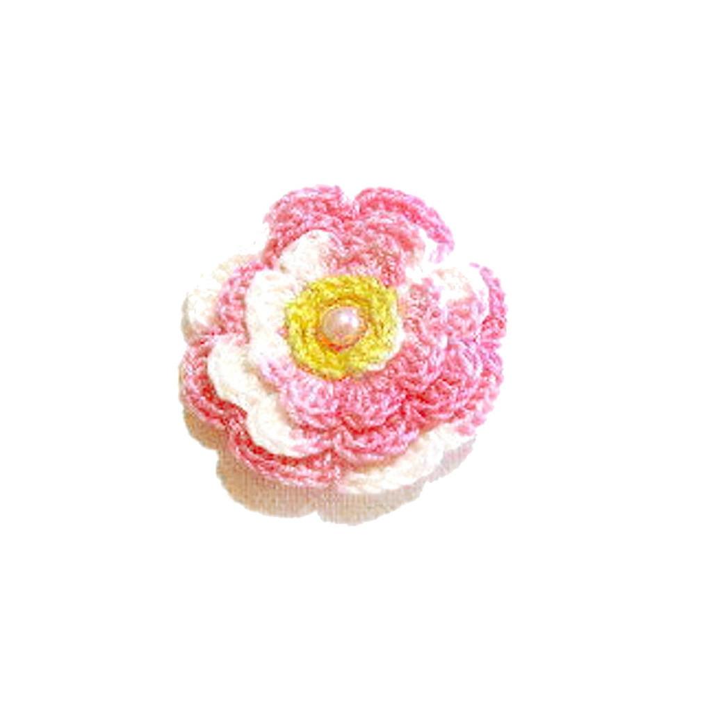 Set 5 FIORI rosa sfumato con perla all'uncinetto