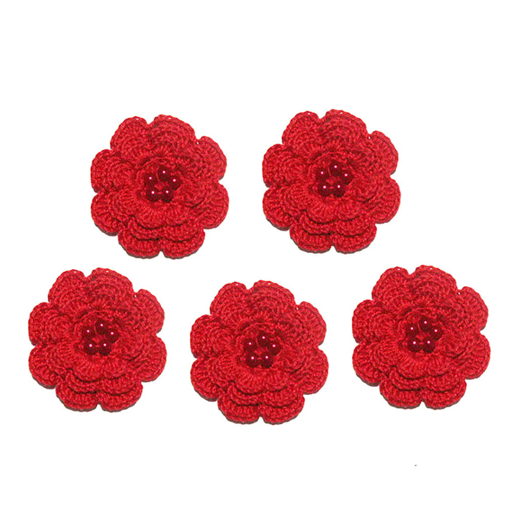 Set 5 FIORI rossi con perla all'uncinetto