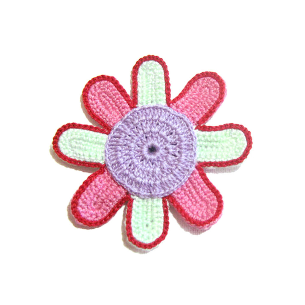 Set 5 FIORI lilla rosa e verdino all'uncinetto