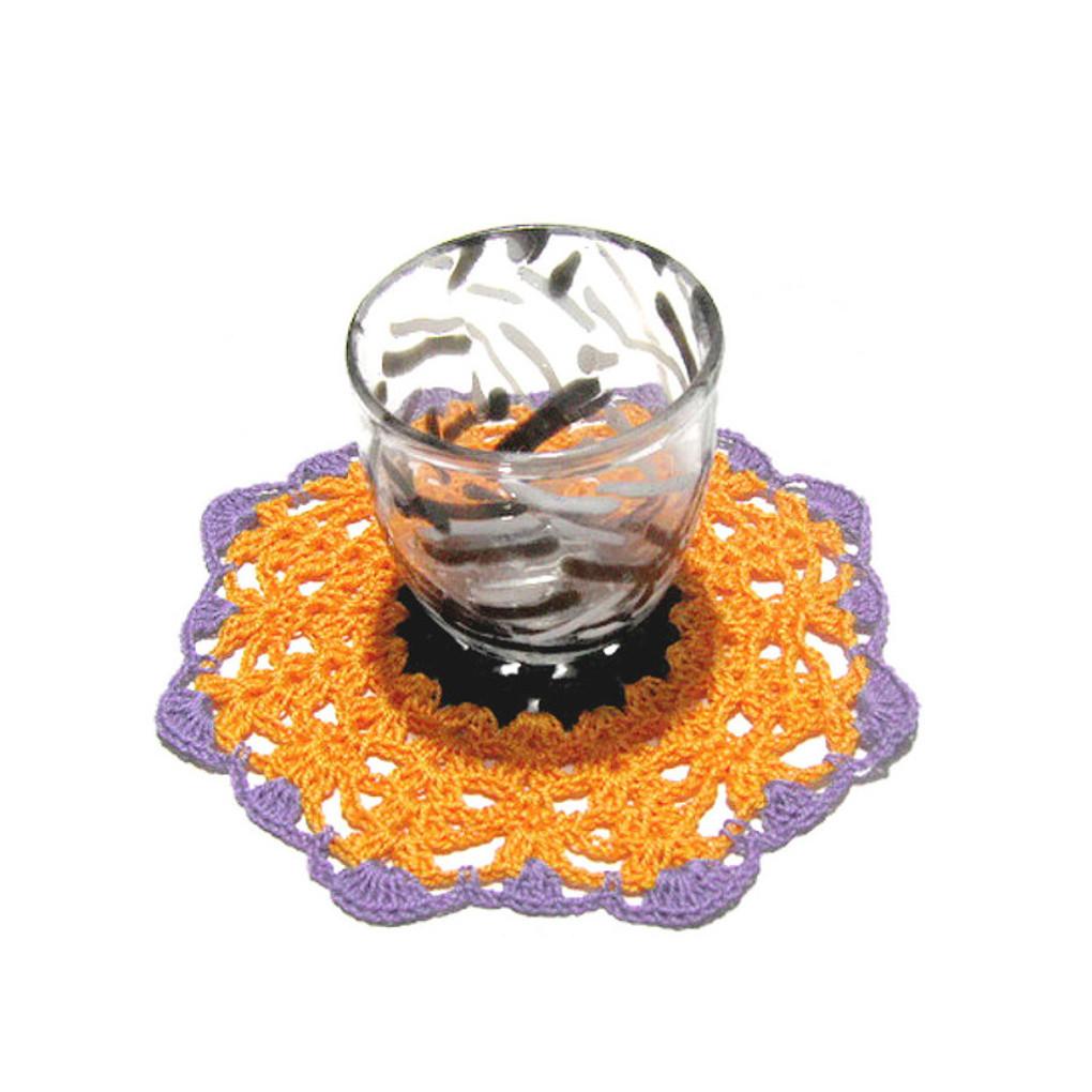 Set SOTTOBICCHIERI arancione e nero per Halloween all'uncinetto