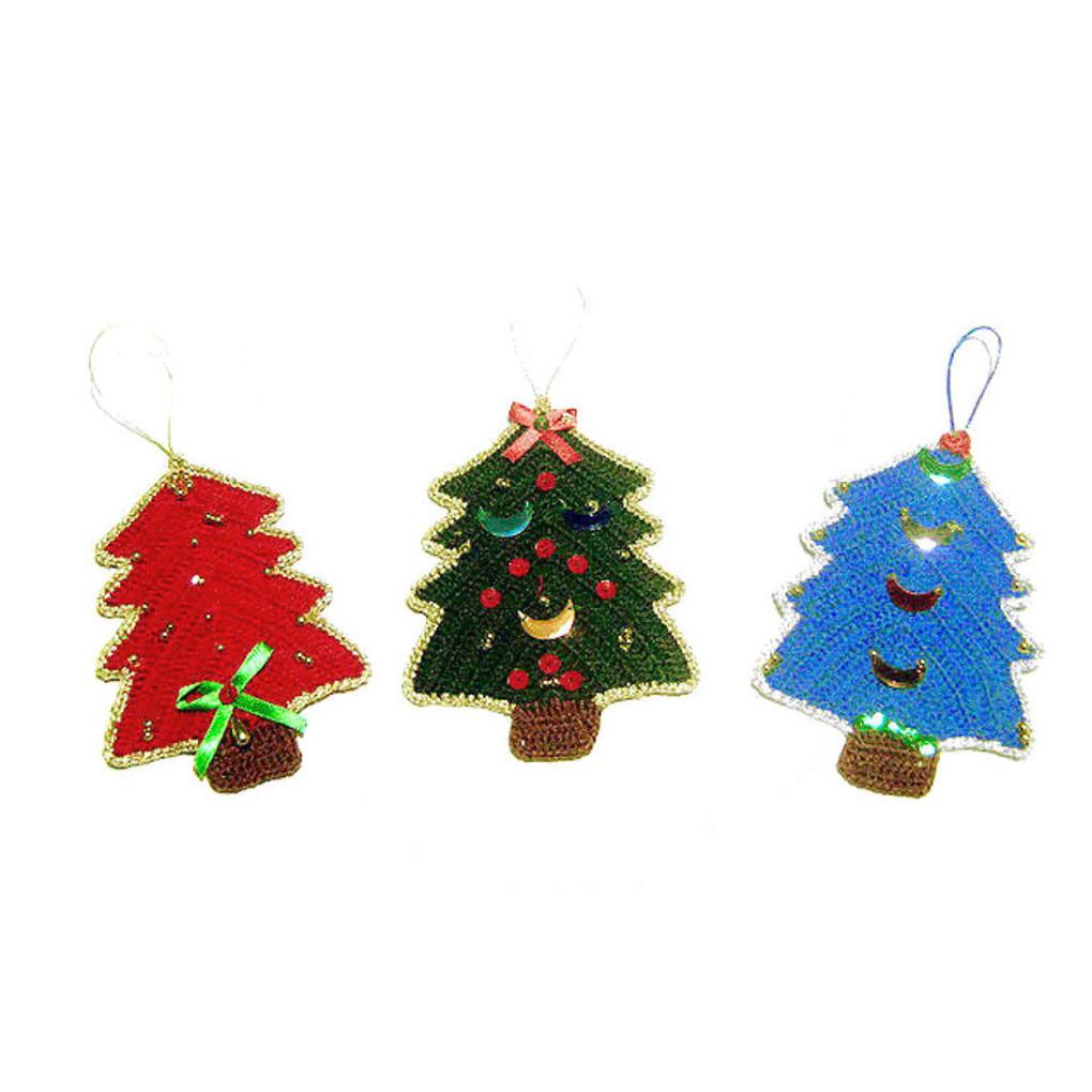 Set di 3 ALBERELLI colorati per Natale all'uncinetto