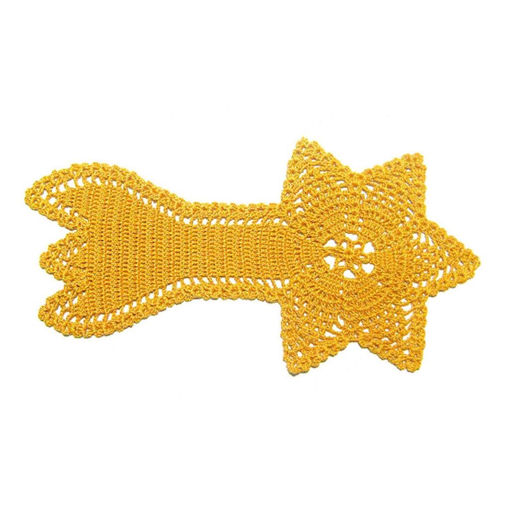 CENTRINO stella cometa giallo oro per Natale all'uncinetto