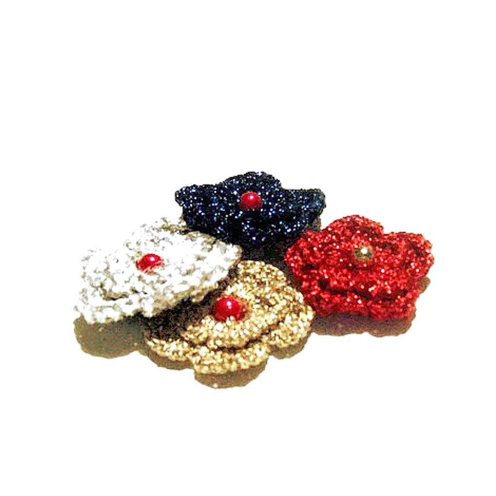 Set 4 FIORI colorati con perla per Natale all'uncinetto