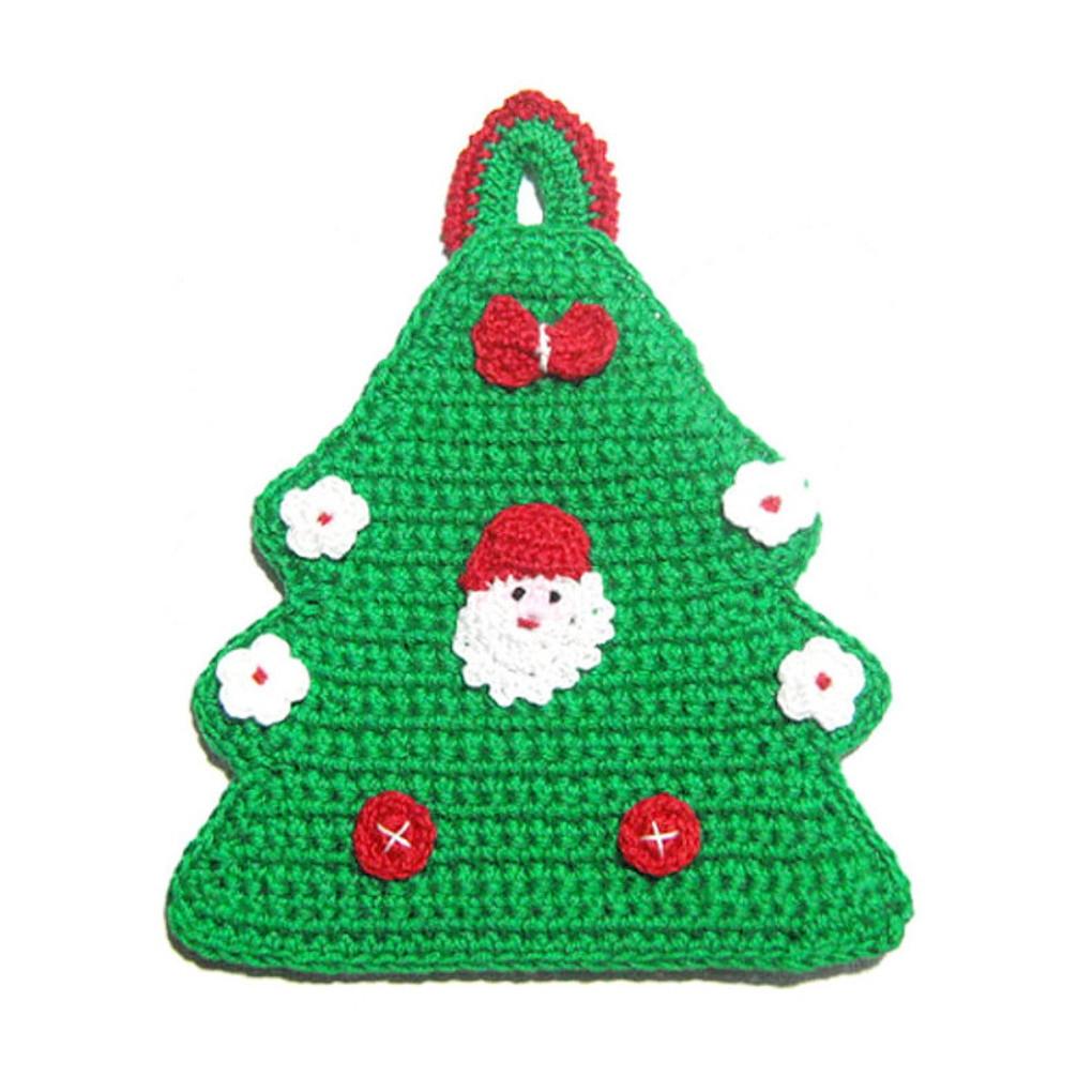 Presina Albero Di Natale Uncinetto.Presina Albero Di Natale Con Babbo Natale All Uncinetto