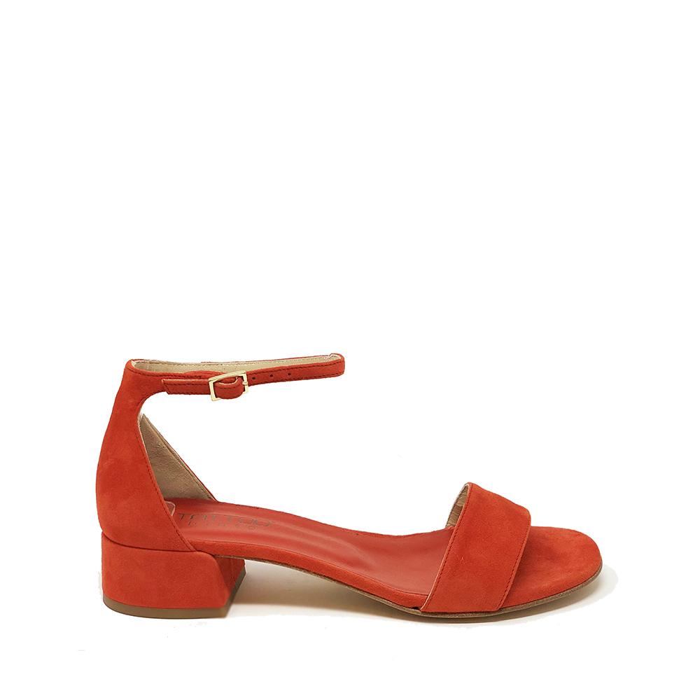 Sandali bassi in camoscio colore rosso corallo - TATOO PINTO