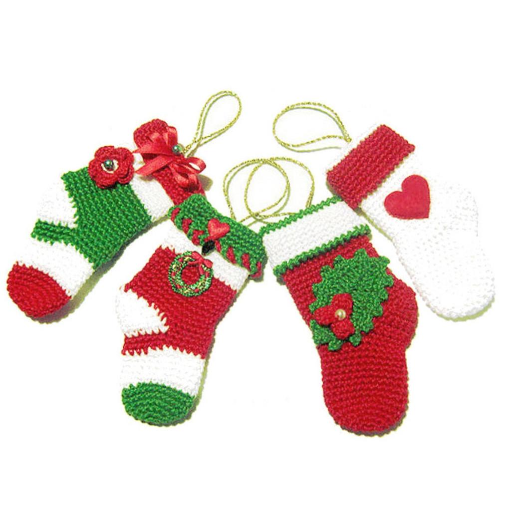 Set 4 MINI CALZE da appendere per Natale all'uncinetto