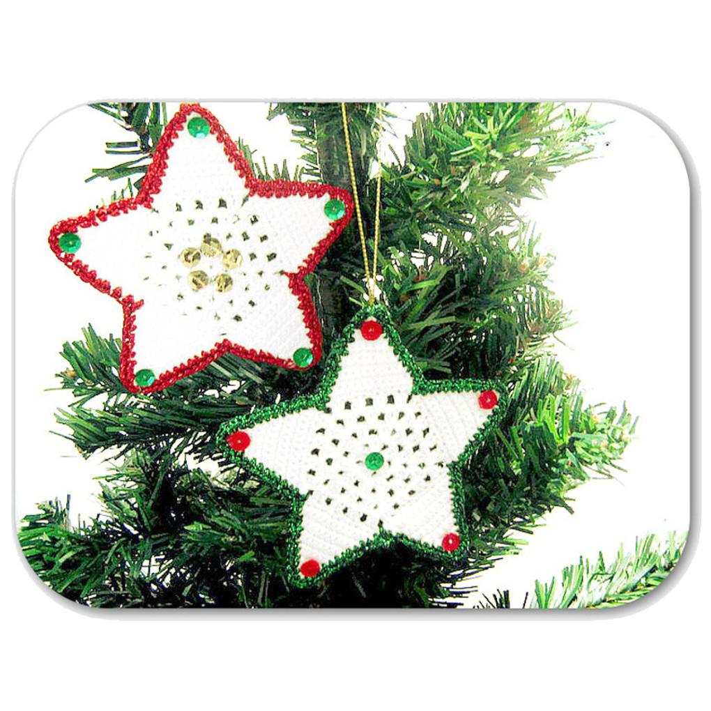 Presina Albero Di Natale Uncinetto.Set 2 Stelle Da Appendere Per L Albero Di Natale All Uncinetto