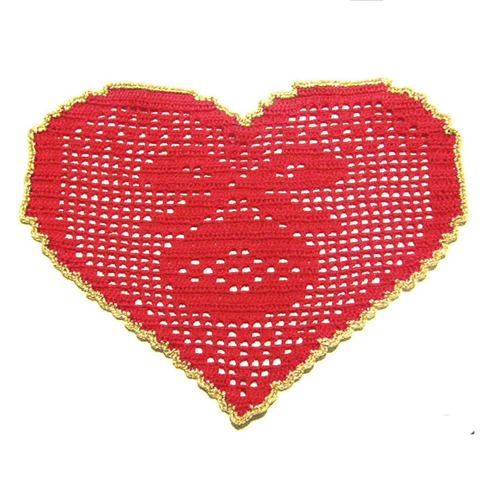 CENTRINO a forma di cuore rosso e oro per Natale all'uncinetto