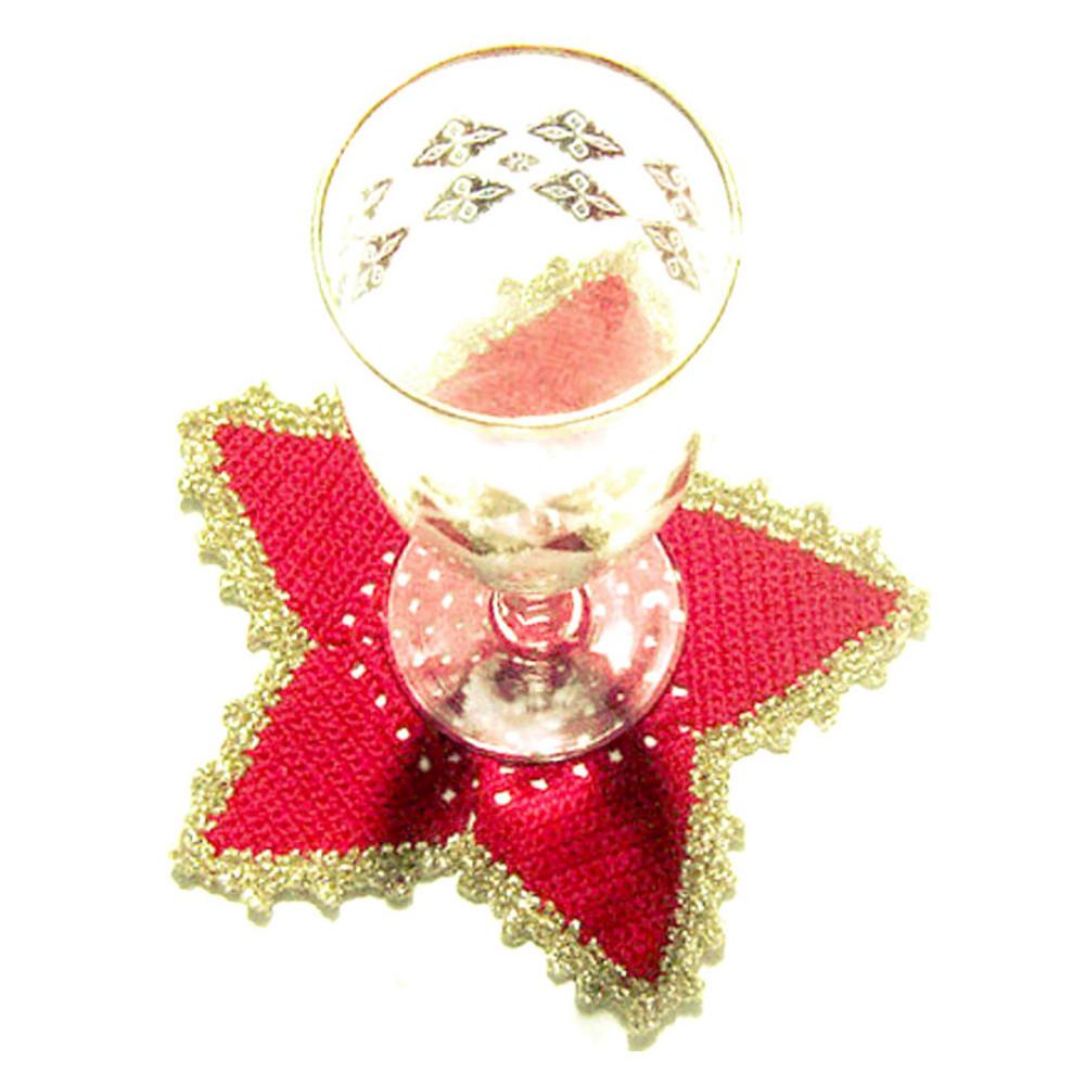 Set SOTTOBICCHIERI rossi e oro a forma di stella per Natale all'uncinetto
