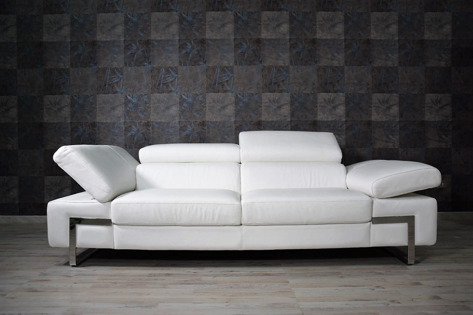 Divano In Pelle Design.Offerta Divano 3 Posti Maggiorati Bianco Con Poggiatesta Recliner
