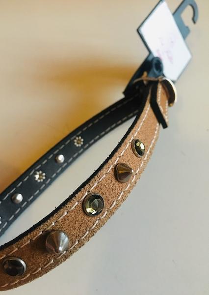 Pet follie collare con borchie e strass H 1,5 cm.