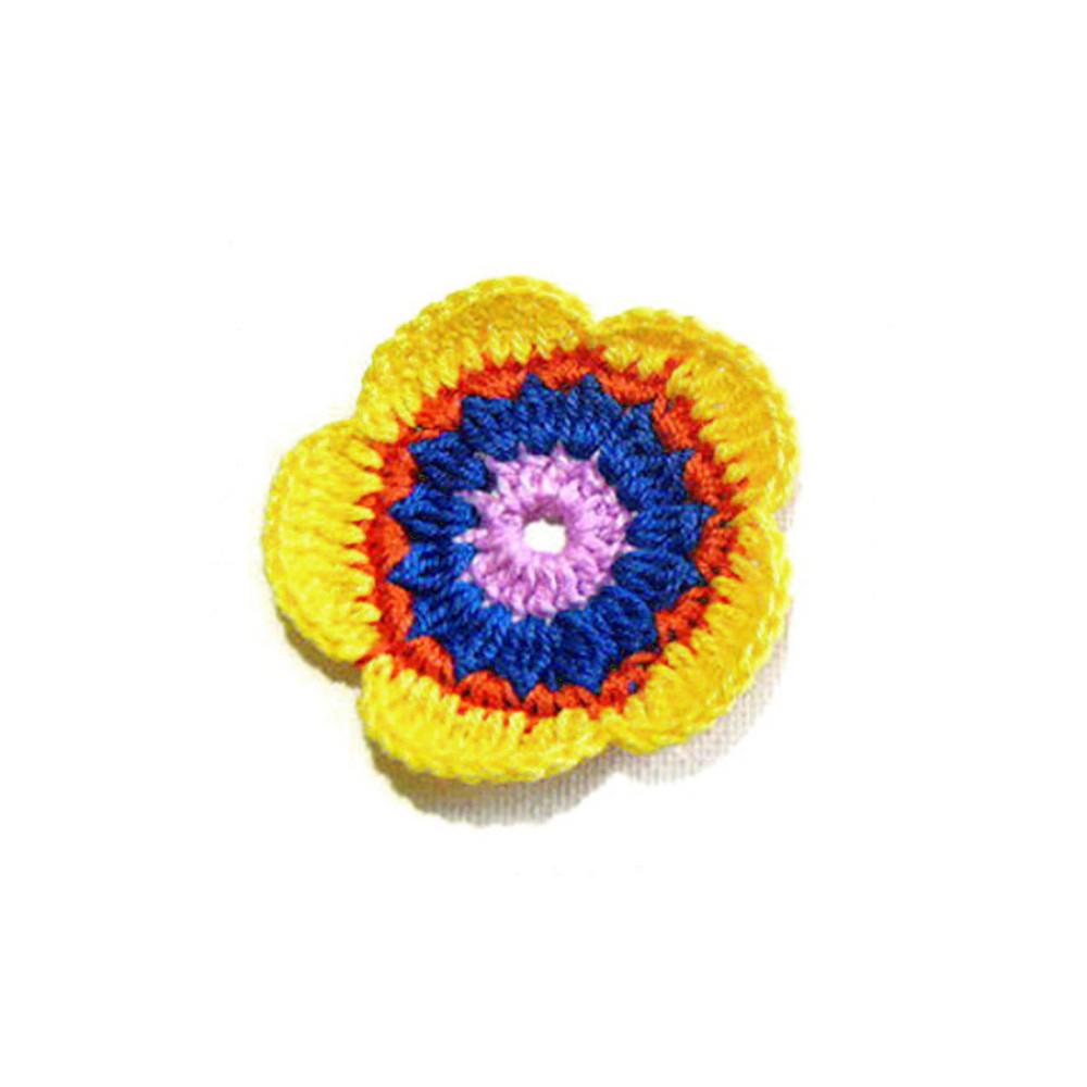 Set 5 fiori rosa, blu elettrico e giallo all'uncinetto