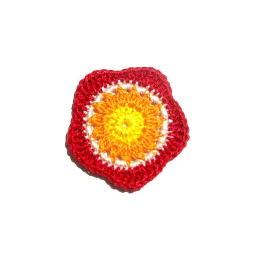 Set 5 fiori giallo, rosso e arancione all'uncinetto