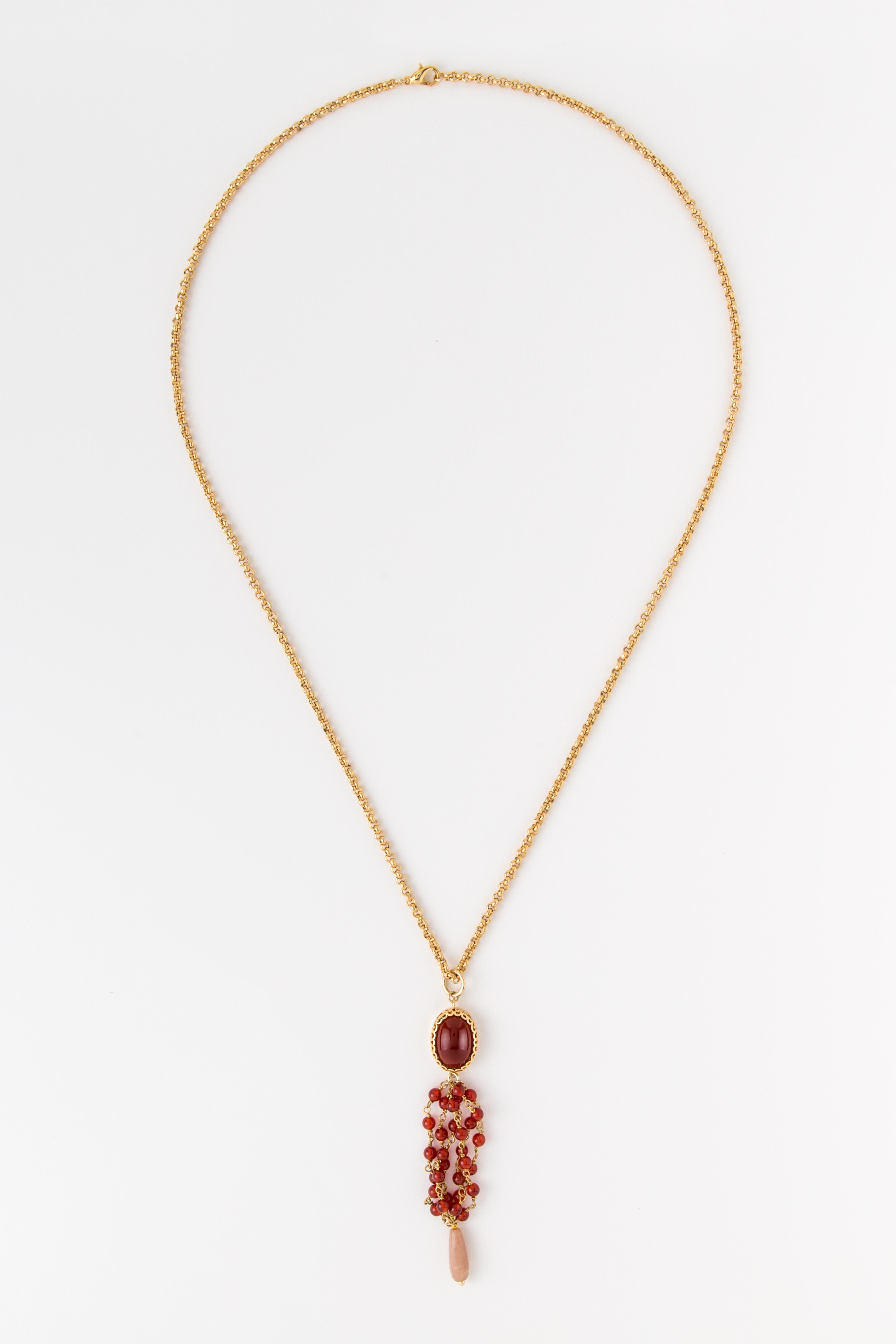Collana lunga con ciondolo chandelier  in ottone galvanizzato con pietre dure e resina