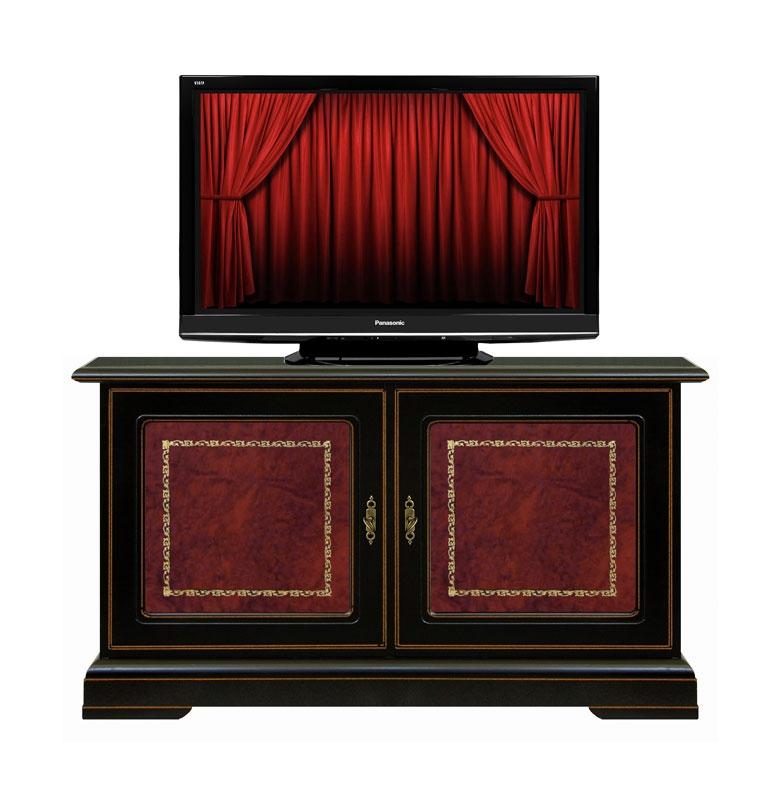Porta tv basso nero con vera pelle