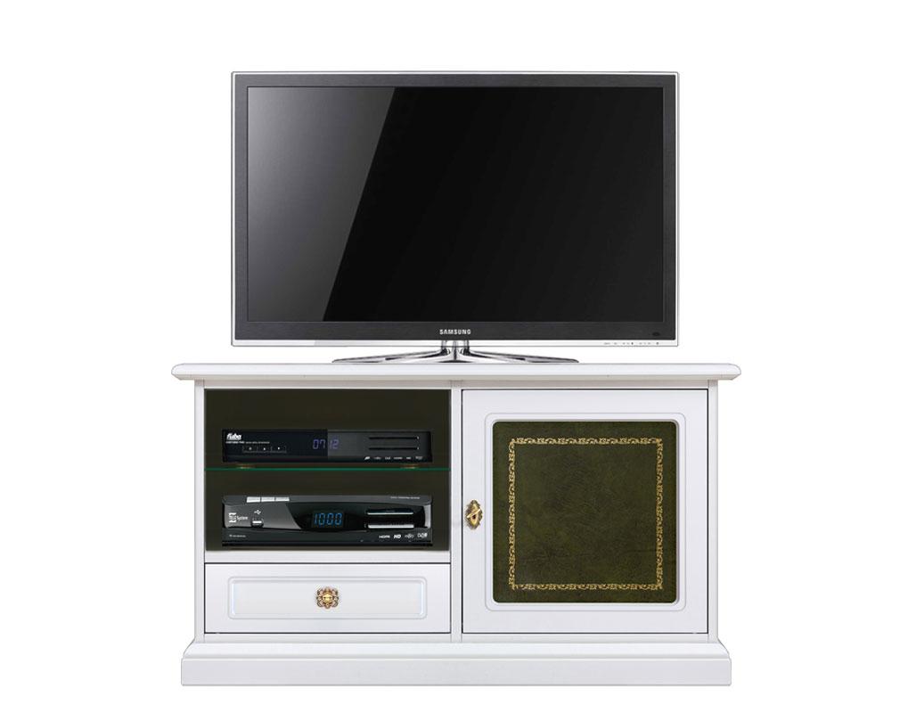 Porta tv 1 porta con vera pelle verde