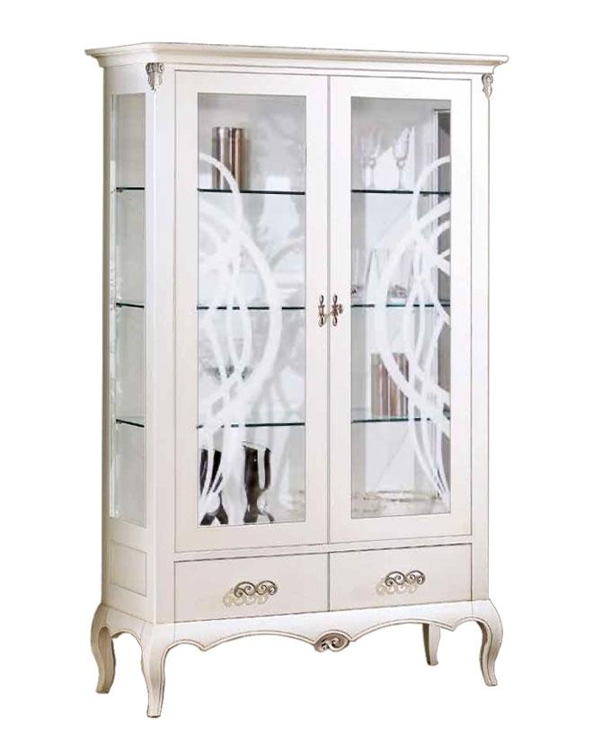 Vetrina 2 ante laccata bianca con piedini e vetri decorati