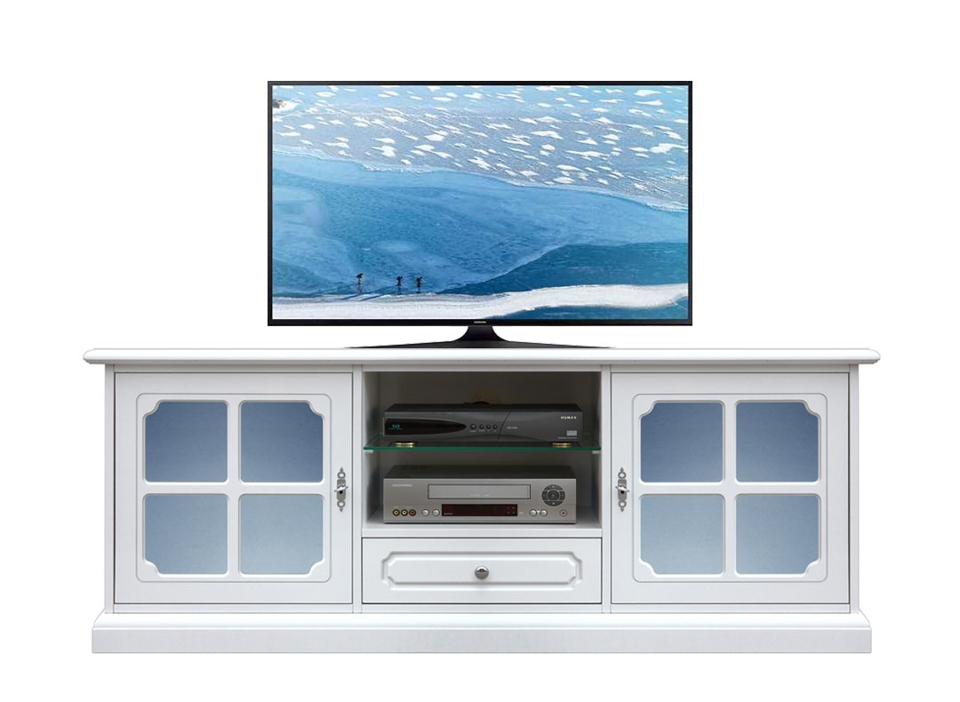 Porta tv con vetri satinati azzurri
