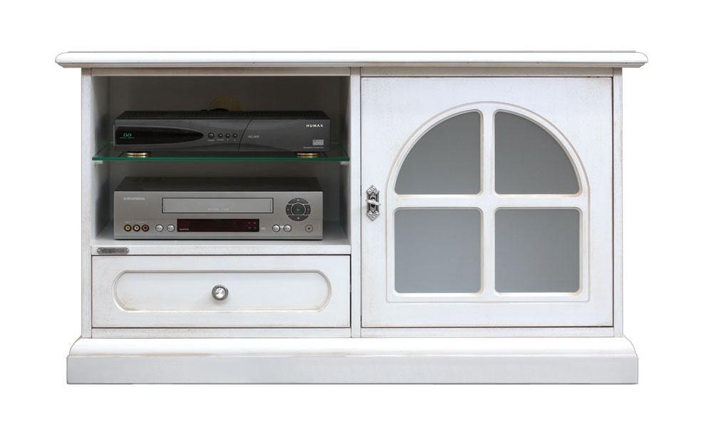 Porta TV per salotto con antina, 1 cassetto e ampio vano