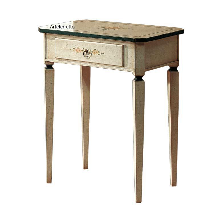 Tavolino con cassetto decorato