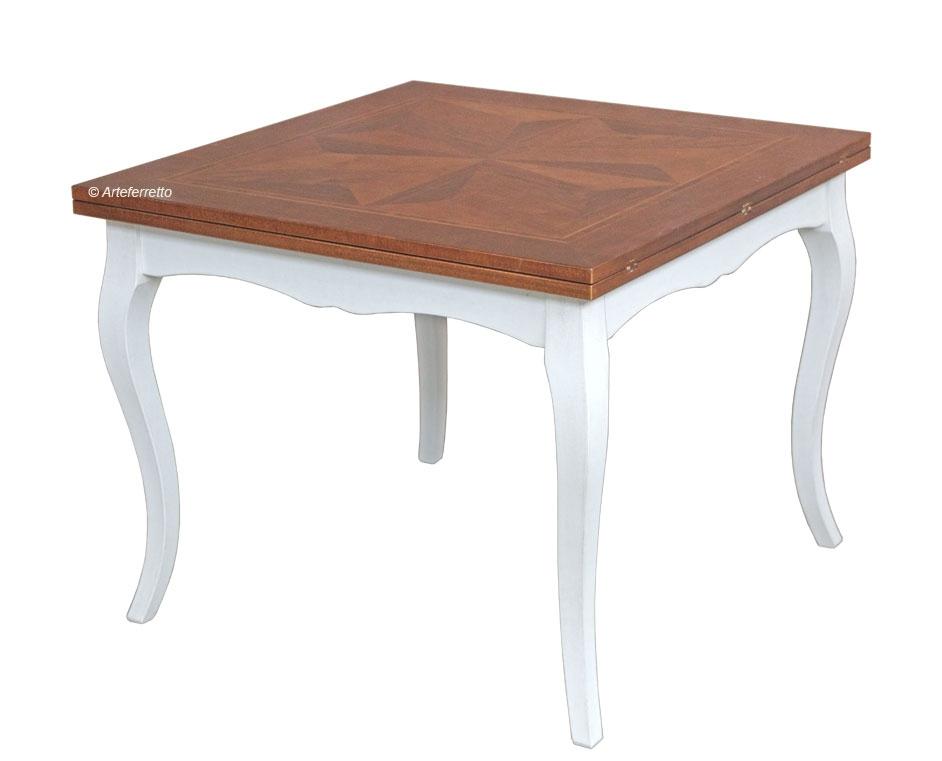 Tavolo quadrato bicolore con allunghe