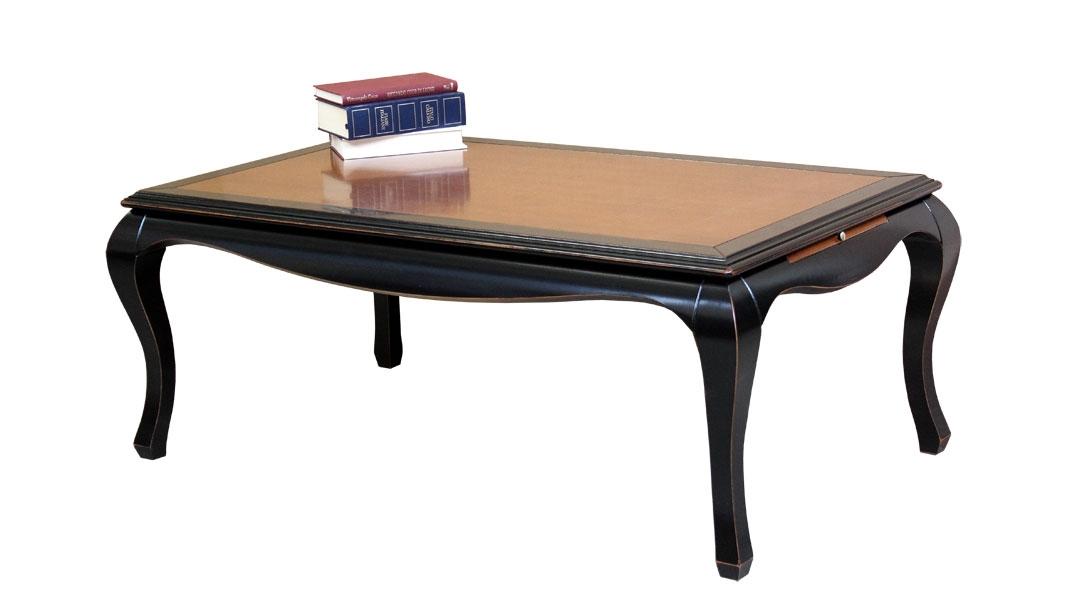 Tavolino bicolore nero e ciliegio con tiretti