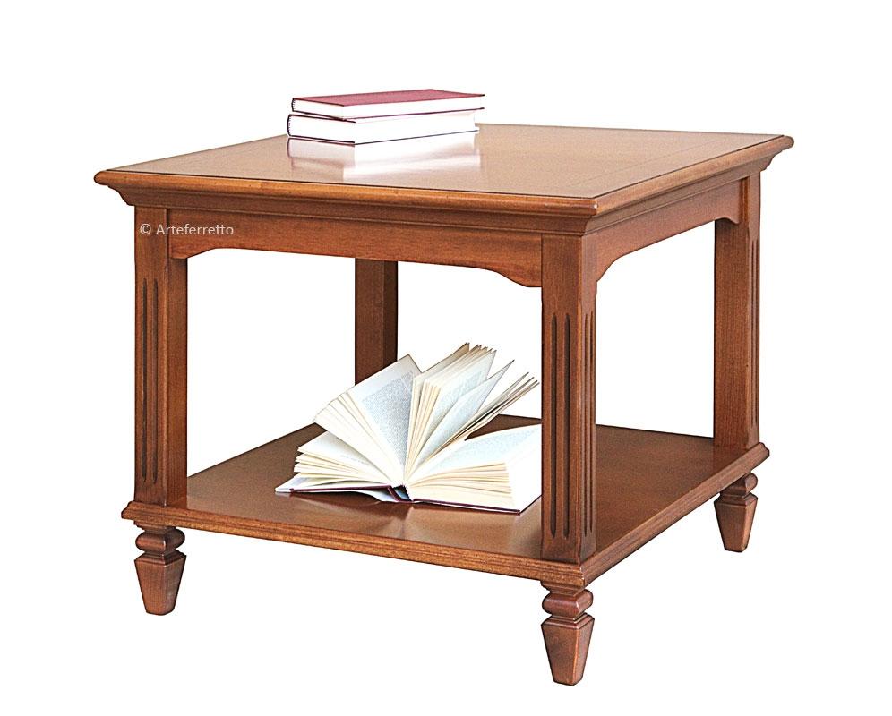 Tavolino quadrato stile impero con intarsi