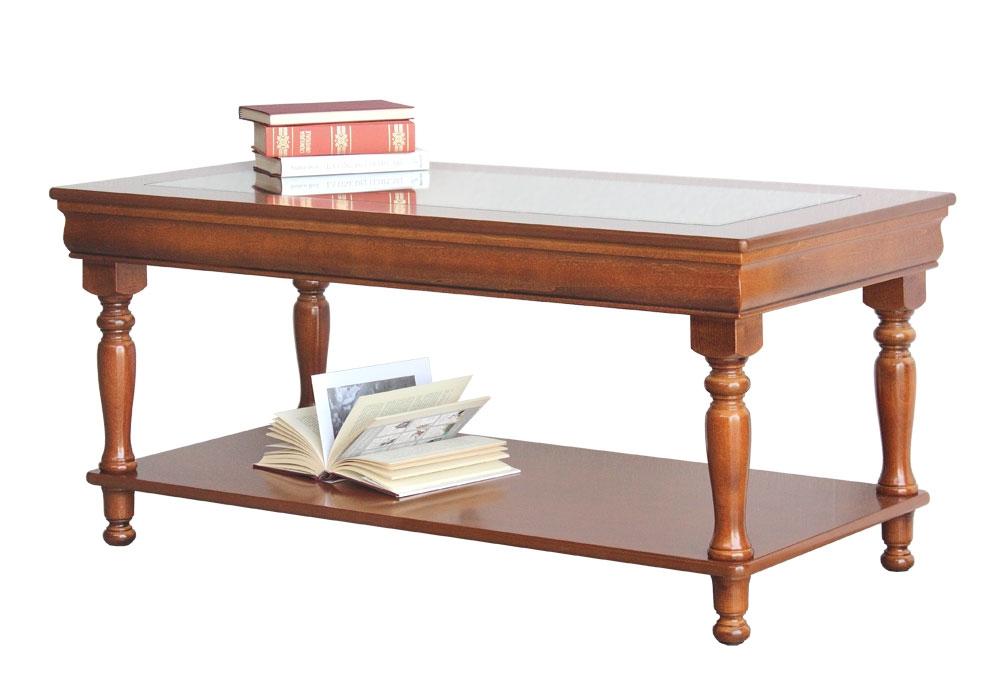 Tavolino rettangolare piano cristallo Luigi Filippo