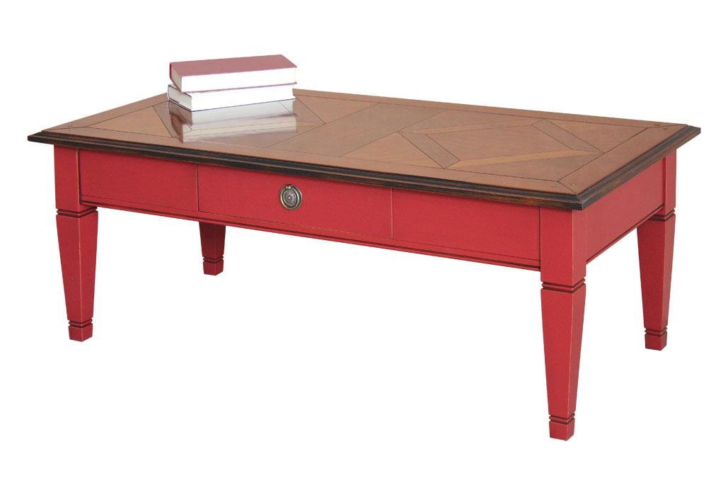 Tavolino bicolore piano tassellato