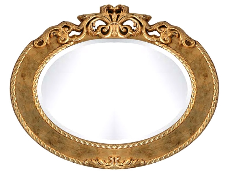 Specchiera ovale foglia oro o argento