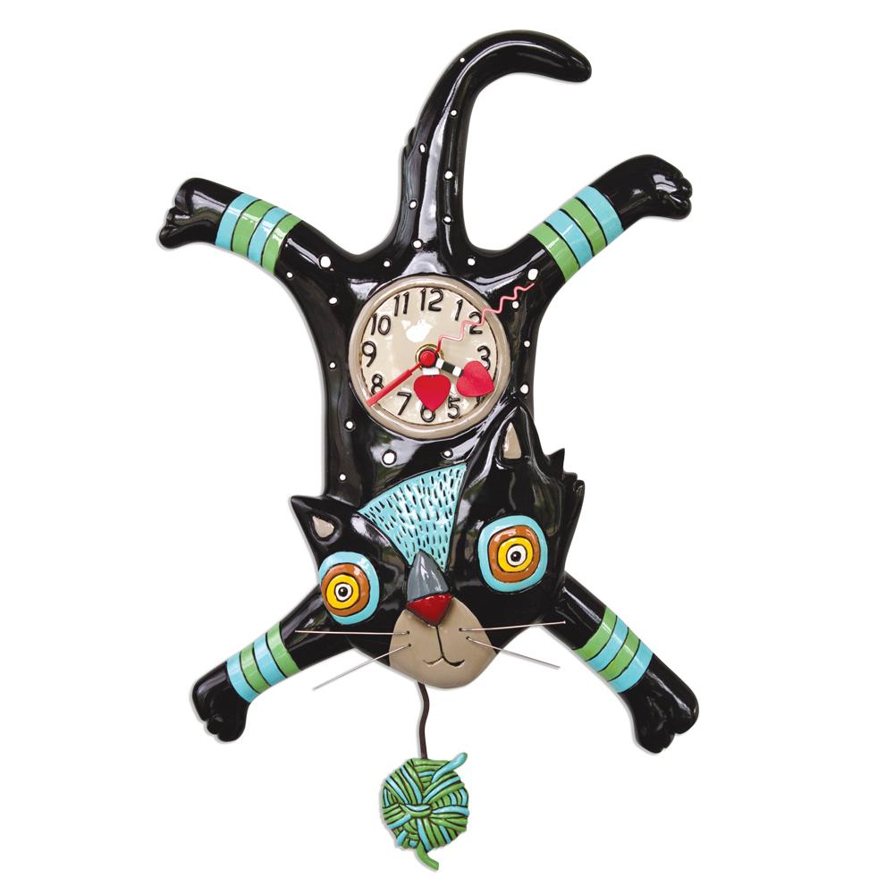 Orologio Gattone nero con Gomitolo di lana