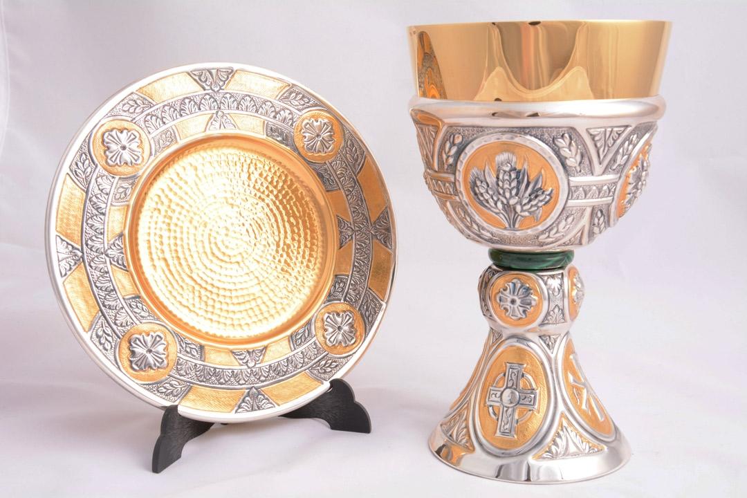 Calice coppa argento con patena e nodo in giada LOS575BIC
