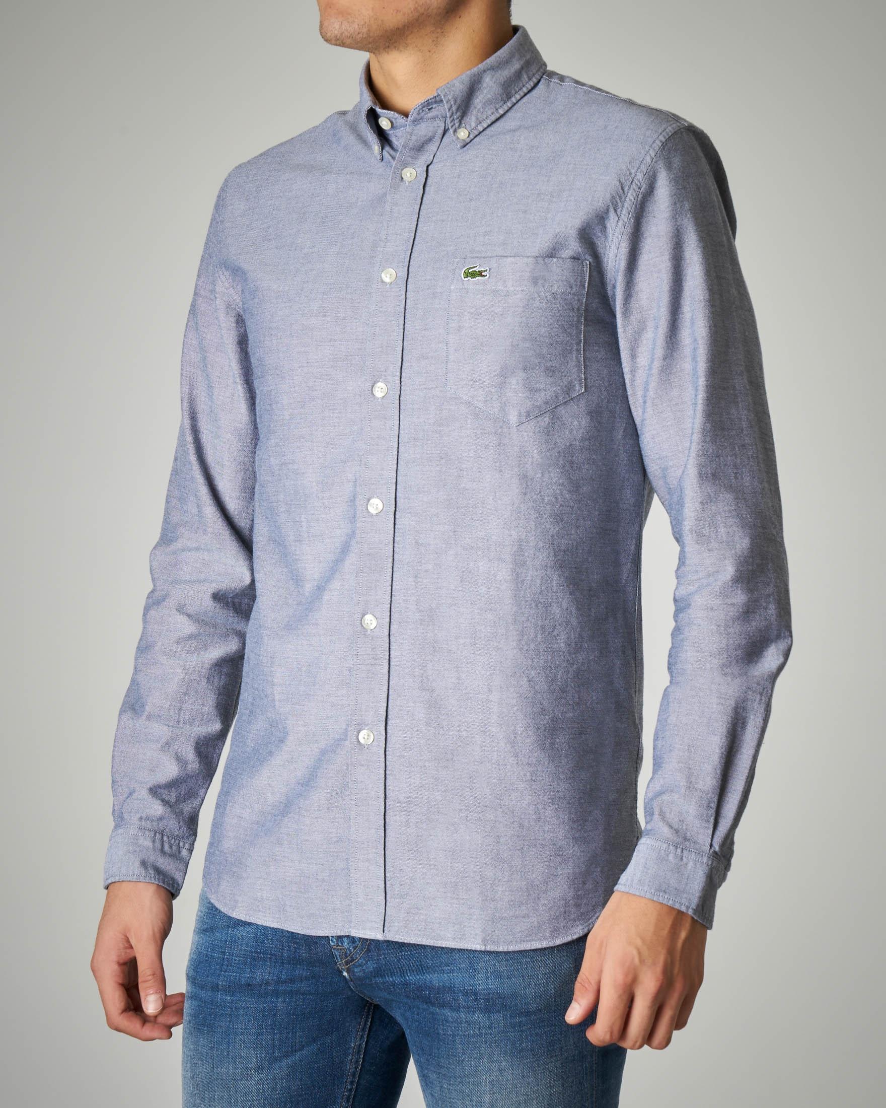 Camicia indaco in Oxford button down con taschino