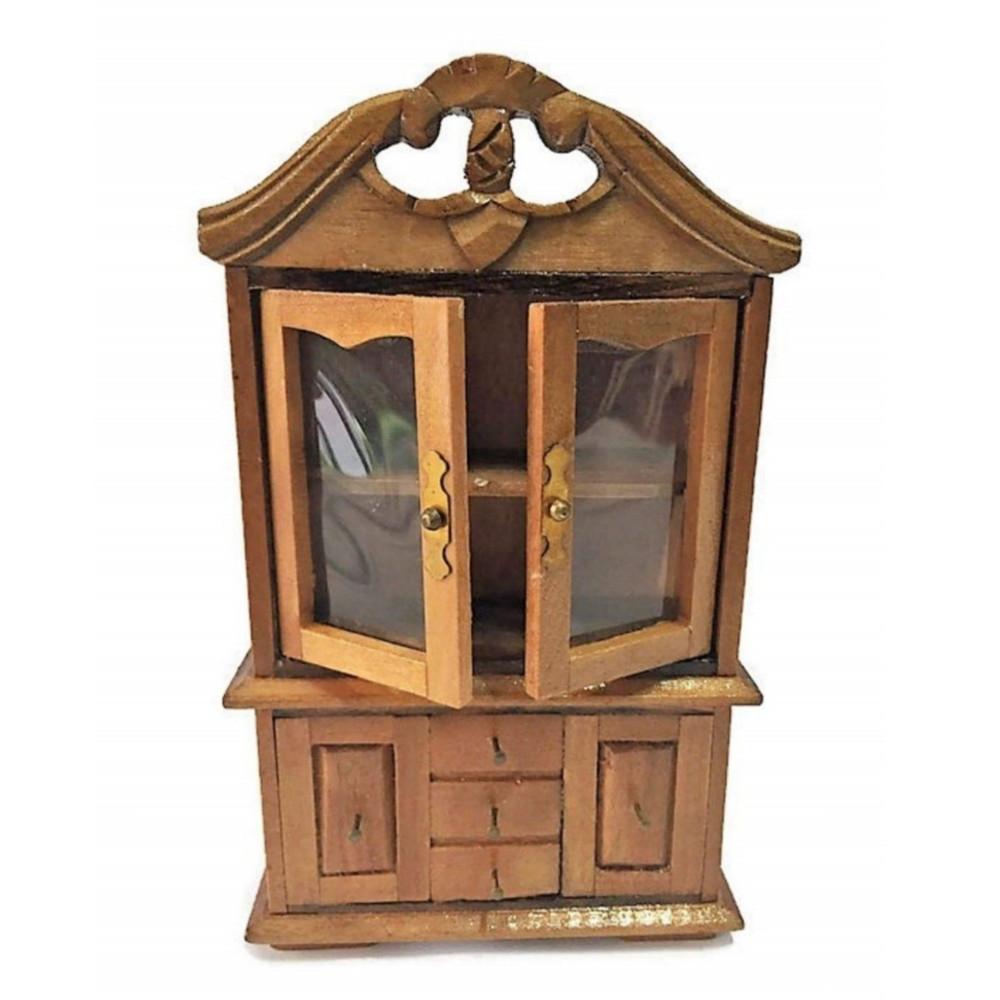 Credenza con vetrinetta in miniatura casa delle bambole