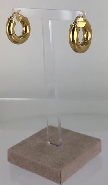 ORECCHINI A CERCHIO PICCOLI CANNA GROSSA LUCIDI ORO 18 KT  DIAMETRO 2.10 CM