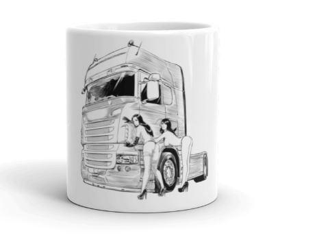 Tazza in ceramica con donne sexy e vogliose sui camion