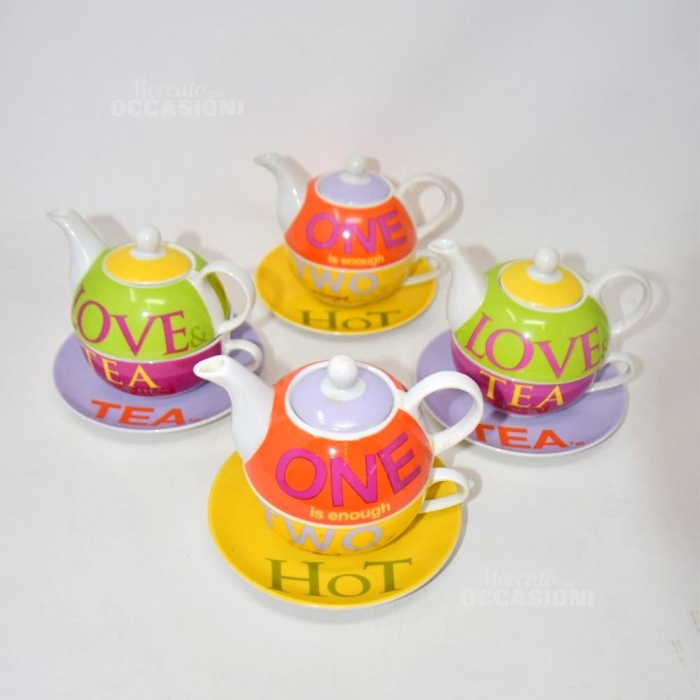 4 Tazze Teiera Con Piattini Multicolor Andrea Fontebasso